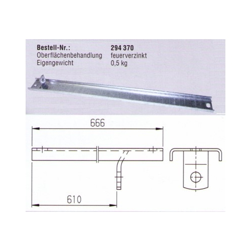 AL-KO Trailerparts mounting rail for unscrew support art.nr.:294370
