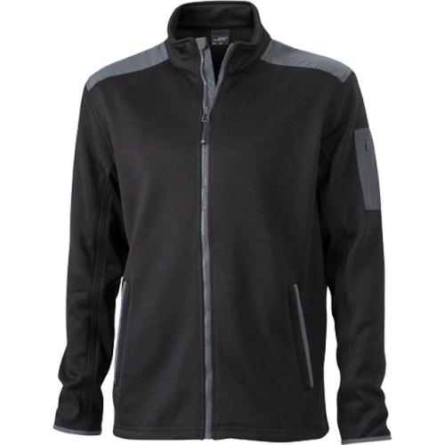 JAMES & NICHOLSON JN591 men's knitted fleece jacket, black / carbon, size XL