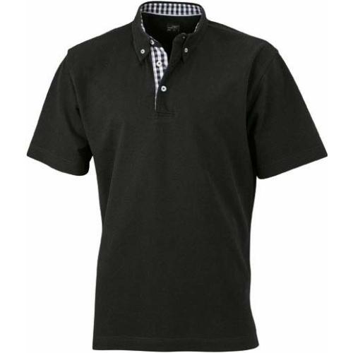 JAMES & NICHOLSON JN964 men's polo shirt with checked insert, black / white, size. L.