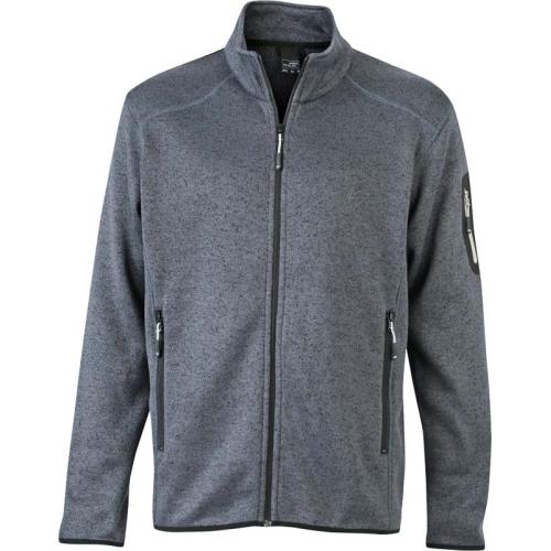 JAMES & NICHOLSON JN762 Herren Strickfleece-Jacke, grau/silber, Größe XL