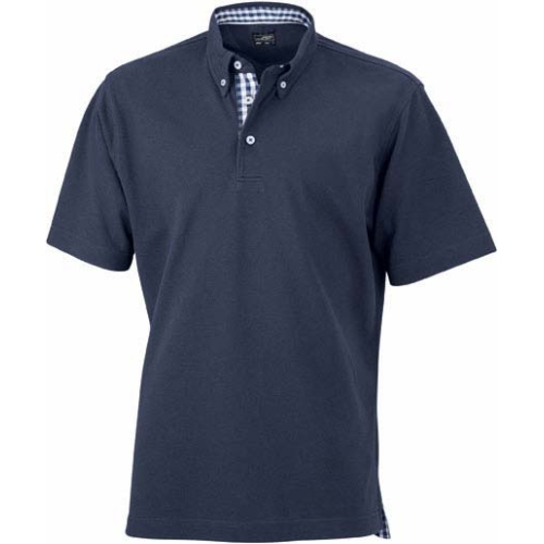 JAMES & NICHOLSON JN964 men's polo shirt with checked insert, blue, size L.