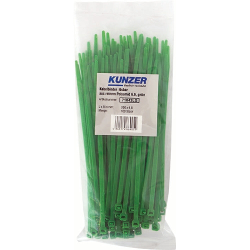 KUNZER 200 x 4.8 GREEN / 100 pcs cable ties, detachable 71042LG