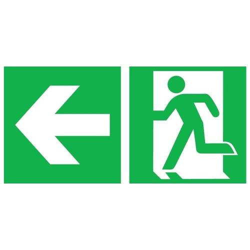 """Sign Safety Rettungsschild """"Notausgang links"""" mit Richtungspfeil links 380.0088"""