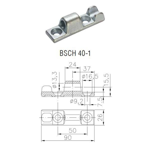 WINTERHOFF 1732048 side wall hinge BSCH 40-1, galvanized