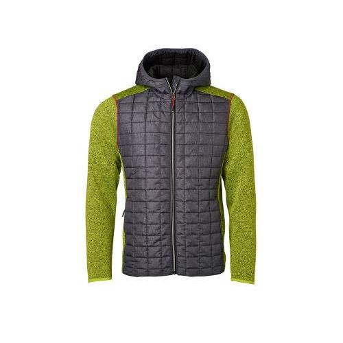 JAMES & NICHOLSON JN772 men's knitted fleece jacket, green / anthracite, size M