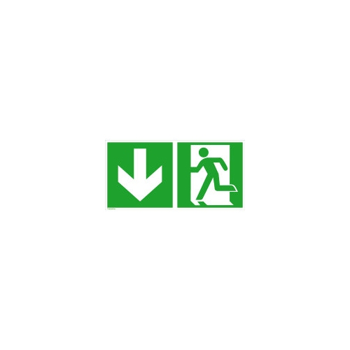 """Sign Safety rescue sign """"emergency exit left"""" with directional arrow down 15.0084"""