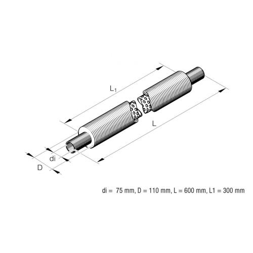EBERSPÄCHER 33000072 Flexibler Ansaugschalldämpfer, Ø 75mm, L 600 mm