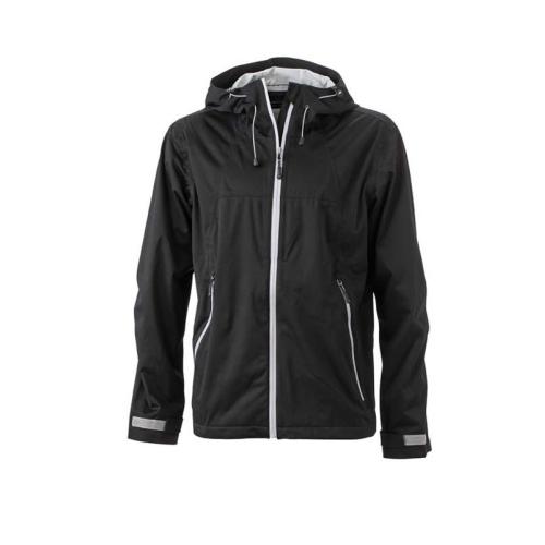 JAMES & NICHOLSON JN1098 men's softshell jacket, black / silver, size L