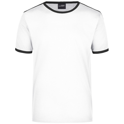 JAMES & NICHOLSON JN017 Men's Flag T-Shirt, white / black, size M