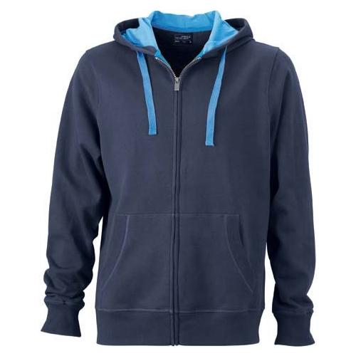 JAMES & NICHOLSON JN595 men's sweat jacket with hood, blue, size. L.