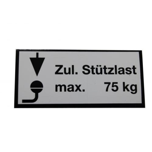 KNOTT 404442.001 Stützlastschild, Stützlast 75 kg, 65x30 mm, Klebefolie