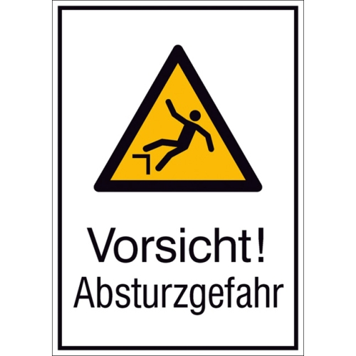 """SIGN SAFETY 51.A8030 Combination sign """"Caution, danger of falling"""", hard aluminum"""