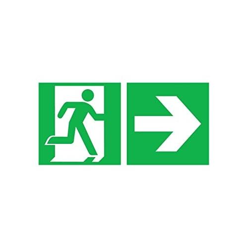 Sign Safety Rettungsweg rechts mit Zusatzzeichen 38.0086