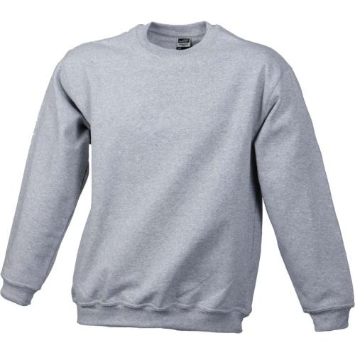 JAMES & NICHOLSON JN040 sweatshirt, round neck pullover, light gray, size XXL