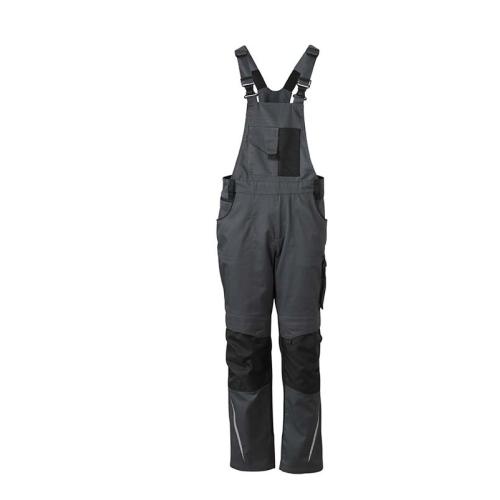 JAMES & NICHOLSON JN833 work trousers, dungarees, carbon / black, size 56