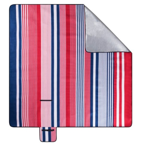 Travel blanket with aluminum backside red / blue striped 200x200cm
