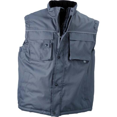 JAMES & NICHOLSON JN813 men's winter work vest, carbon, size L