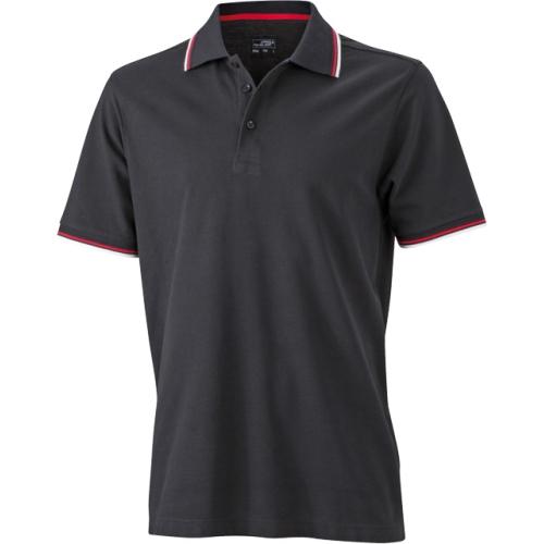 JAMES & NICHOLSON 8804382 men's polo with UV protection, black / white / red, XXXL