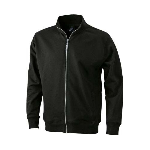 JAMES & NICHOLSON JN046 men's sweat jacket, black, size L