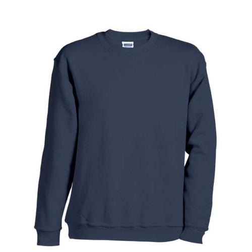 JAMES & NICHOLSON JN040 Sweatshirt, round neck pullover, navy, size L