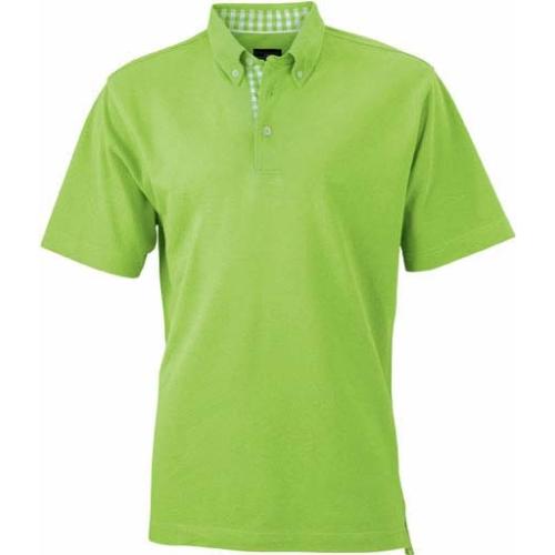 JAMES & NICHOLSON JN964 men's polo shirt, check insert, lime-green / white, size. M.