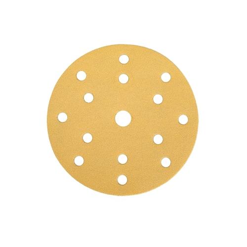 MIRKA Exzenter-Schleifscheiben Gold Ø150 mm GRIP 15-fach gelocht P 220 Körnung 100 Stück