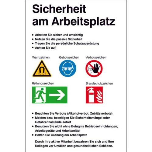 """SIGN SAFETY 43.A9511 Kunststoff Aushang """"Sicherheit am Arbeitsplatz"""", 48 x 72 cm"""