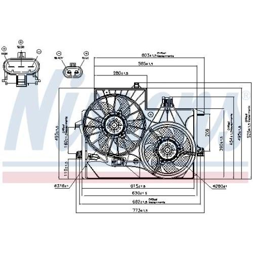 NISSENS 85201, Lüfter Motorkühlung, 3-polig, Spannung 12 V