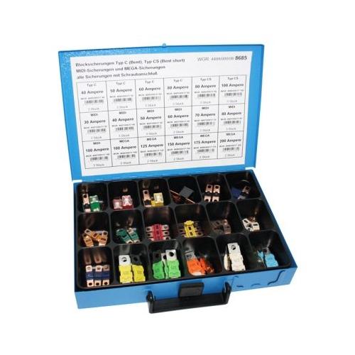 Sortiment Blocksicherungen 4499/000/06 8685 Typ C, Typ CS, MIDI, MEGA 1 Stück