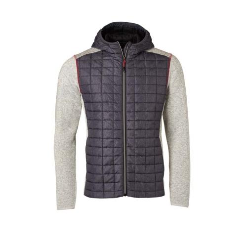 JAMES & NICHOLSON JN772 men's knitted fleece jacket, light gray / anthracite, size. L.
