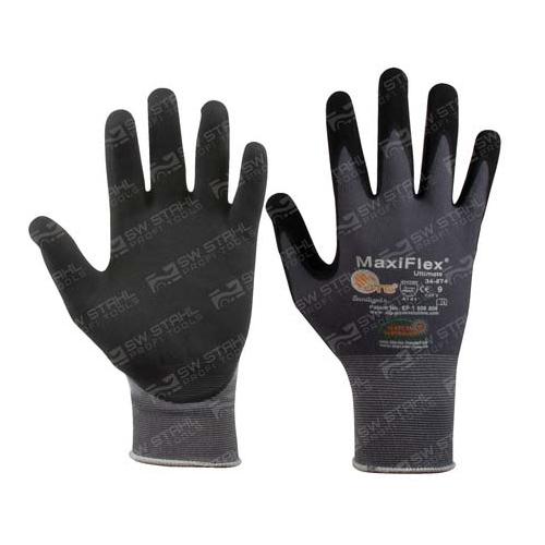 SWSTAHL 11532L Schutzhandschuh, Nylon Feinstrickhandschuh, Gr. 10, schwarz/grau