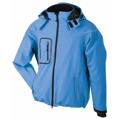 JAMES & NICHOLSON JN1000 men's winter softshell jacket, light blue, size L