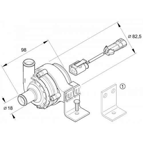 EBERSPÄCHER 252217270000 Wasserpumpe 12 V mit Halter für Hydronic 4/5