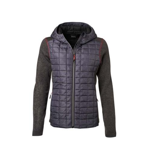JAMES & NICHOLSON JN771 women's knitted fleece jacket, gray-anthracite, size M