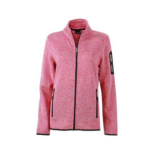 JAMES & NICHOLSON JN761 women's knitted fleece jacket, pink, size L