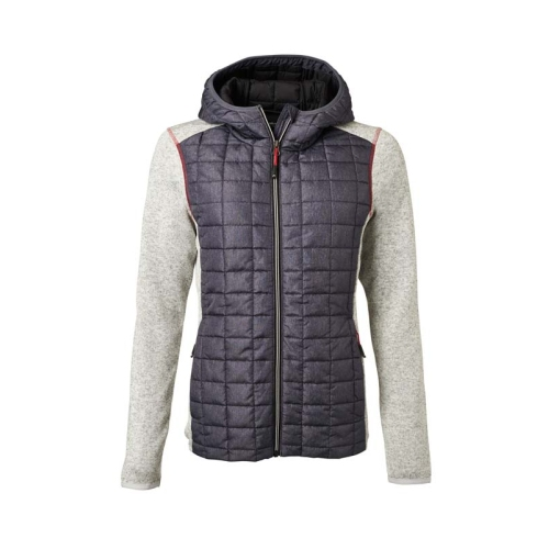 JAMES & NICHOLSON JN771 women's knitted fleece jacket, light gray, size M