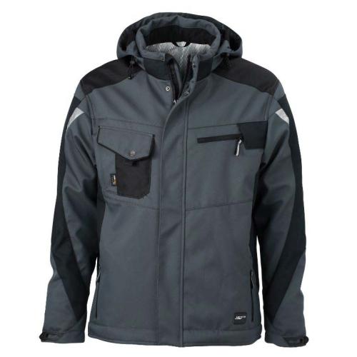 JAMES & NICHOLSON JN824 work jacket, softshell jacket, carbon / black, size L