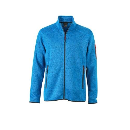 JAMES & NICHOLSON JN762 men's knitted fleece jacket, blue, size L.