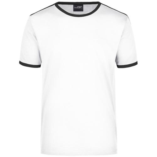 JAMES & NICHOLSON Women's Flag T-Shirt, white / black, size M