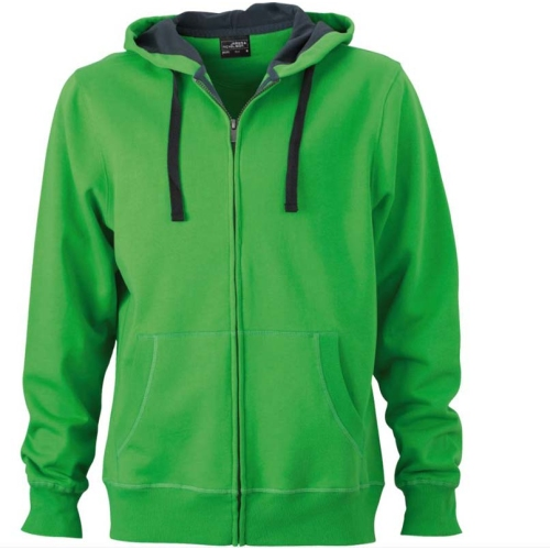 JAMES & NICHOLSON JN595 men's sweat jacket with hood, green / carbon, size. L.