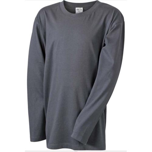 JAMES & NICHOLSON JN913 Herren Langarm Shirt, graphite, Größe XL