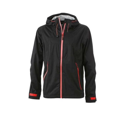 JAMES & NICHOLSON JN1098 men's softshell jacket, black / red, size XL
