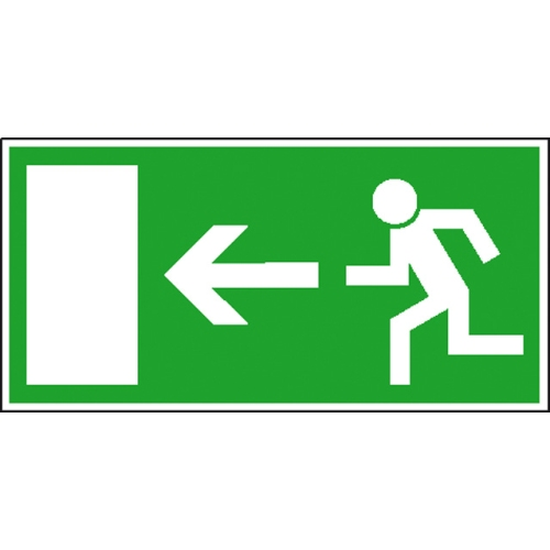 "SIGN SAFETY 38.0005 Escape route sign ""Escape route / emergency exit"" on the left, foil"