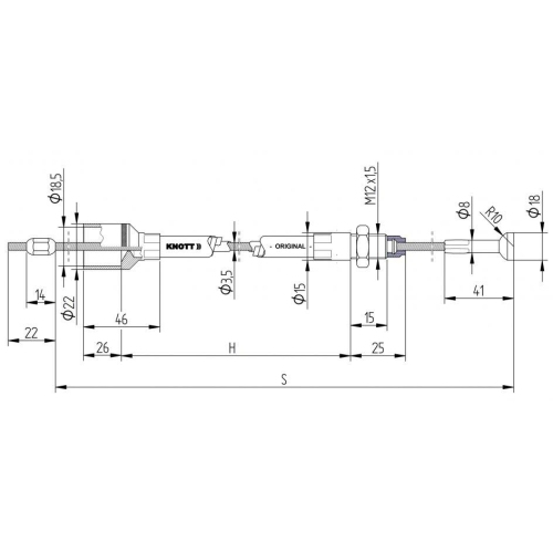 KNOTT 980202.14 Bremsseilzug mit Kugelgelenk, 1420 mm - 1230 mm, Anhänger