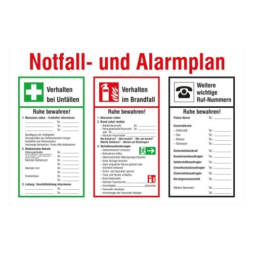 Sign Safety Notfall- und Alarmplan Kunststoff (PVC) 43.A5975
