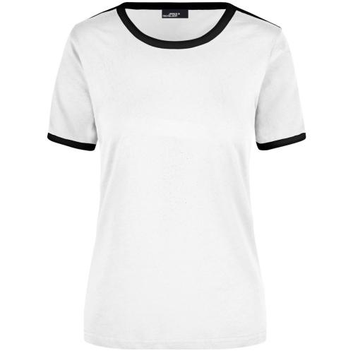 JAMES & NICHOLSON JN018 Damen Flag T-Shirt, weiß/schwarz, Größe XXL