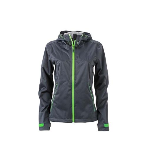 JAMES & NICHOLSON JN1097 women's softshell jacket, green / gray, size M