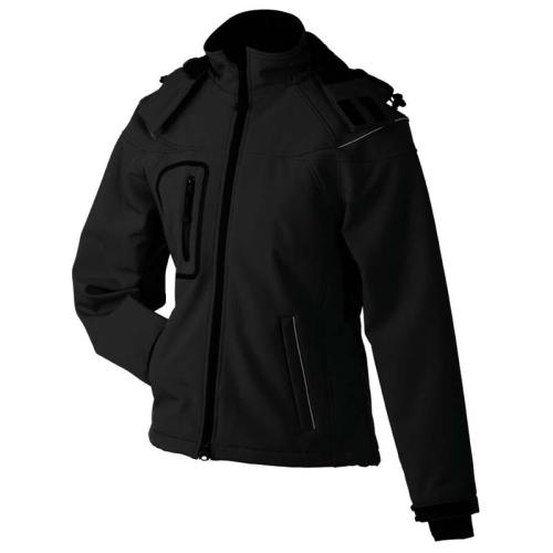 JAMES & NICHOLSON JN1001 ladies softshell jacket, winter jacket, black, size. S.