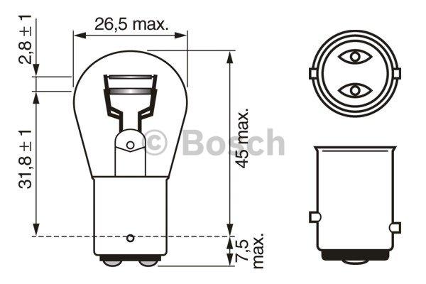Glühlampe Glühbirne für Bremslicht Schlusslicht BOSCH P21/5W 12 Volt VAY15d