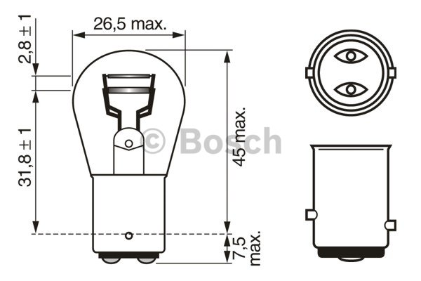 BOSCH Bulb, brake/tail light 1 987 302 282